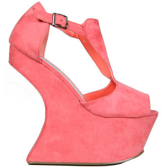 View Item Coral Sculpted Peeptoe Curve Wedge